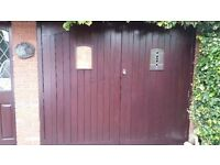 garage doors and frames- solid wood. doors 47.5*83. good condition. quick sale. collection only.