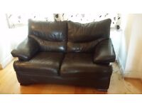 Reclining Leather Armchair and Leather 2 Seater Sofa