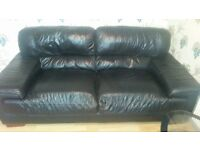 Black Italian Leather 2-Piece Suite For Sale!! MUST GO THIS WEEKEND!!