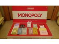 Monopoly Board Game Vintage Red 1984 Version by Waddingtons.