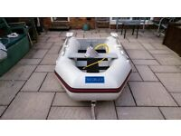 INFLATABLE DINGHY WITH OUTBOARD MOTOR BOAT ENGINE , DINGY TENDER RID SIB