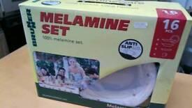 Melamine set, for caravan, boat, camper