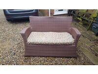 Faux Rattan Two Seater Patio Settee FREE