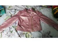 Girls pink leather jacket