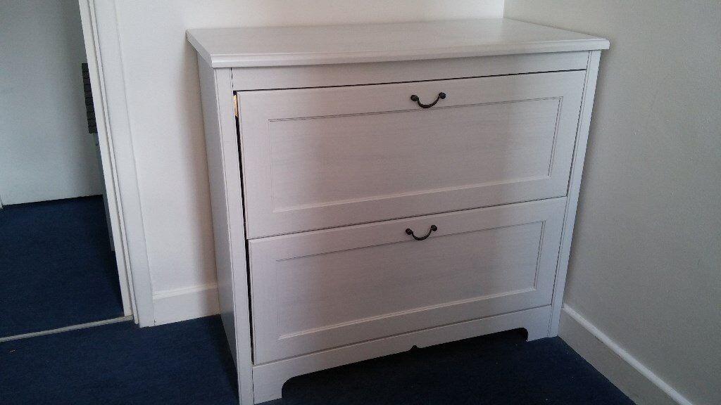 Ikea Aspelund 2 Drawer Chest In White Wash Finish