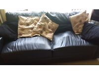 Black leather settee / sofa and cushions. FREE. Buyer collects from Lord Wardens