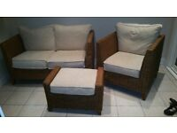 Rattan conservatory furniture sofa set armchair setee footstool storage wicker couch 2 + 1 seater