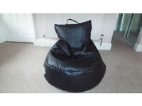 Black Leather Gaming Bean Bag With Speakers & Music Port EXC