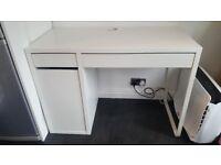 White Ikea 'Micke' computer desk