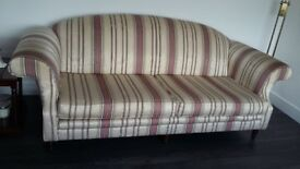 Cream stripe sofas and chair