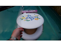 Padded white embroidered Toilet Seat with lid