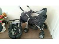 Silver Cross pushchair and car seat for baby
