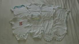 0-3 months White Short Sleeve Vests