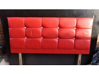 Double bed headboard in racey red faux leather