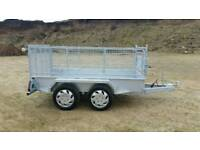 8 2 X 4 2 twin axle trailer stamped mesh sides removable galvanised