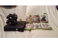 250GB Xbox 360 with box, 2 controllers, 6 games including Fifa17, GTA IV & COD Advanced Warfare