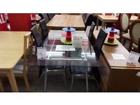 Glass Table + 4 Black Chairs