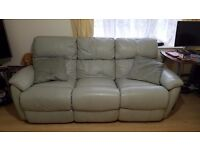 3 seater recliner leather sofa duck egg colour