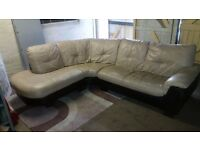 Dfs real leather beige corner sofa