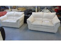 PRE OWNED 2 x 2 Seater Sofas in Cream Leather