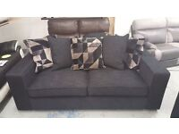 BRAND NEW 3 SEATER LARGE DESIGNER SOFA BLACK FABRIC WITH SCATTER BACK CUSHIONS **CAN DELIVER**