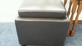 Faux brown leather footstool with storage and lid doubles as a tray