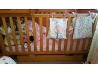 Mothercare cot bed with cot top changer and drawer