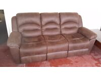 Ex display suede leather reclining sofa ONLY £300