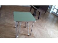 50's style chrome and glass table
