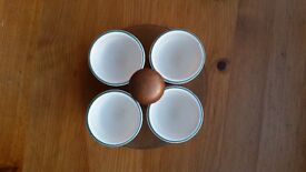 Denby Greenwheat 1950s egg cups and stand