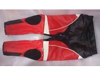 """ALPINESTARS Leather Track Pants / Motorcycle Trousers - Size 34"""" Waist (EUR 52) VGC"""