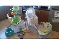 Baby starter pack, Jungle swing, bouncers, seat, Moses basket.....individual items or as pack.