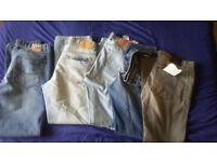 Five Pairs of 34/34 Jeans, levi etc.