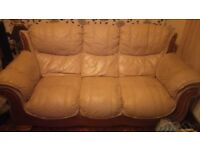 Three seater sofa and 2 chairs leather