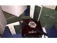 MENS DIAMOND AP ROYAL OAK CHRONOGRAPH GOLD FULLY ICED NEW WITH BOX BOOKS BAG