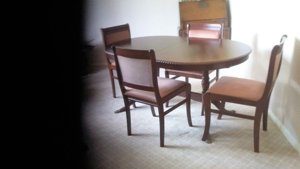 Dining Table Four Chairs And 2 Display Cabinets With Lights In Mahogany Type Wood