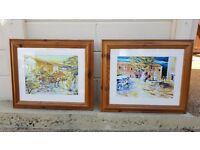 Pair of pine framed glazed prints of Mediterranean scenes