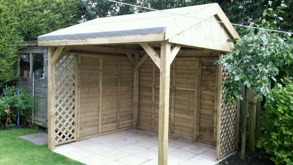 Wooden garden pergola hot tub shelter 2 4 x 2 4 with 2 for Hot tub shelter plans