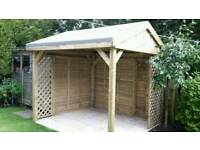 Wooden Garden pergola hot tub shelter 2.4 x 2.4 with 2 sides