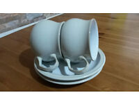 DENBY POTTERY TEACUPS & SAUCERS x 2 FROM THE LINEN RANGE