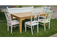 Solid Oak Table, 4 Painted Chairs & Painted Bench