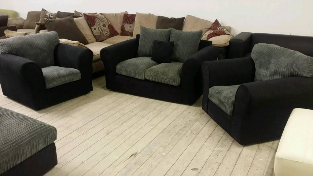 NEW Graded Grey and black 2 seater sofa with 2 armchairs FREE LOCAL DELIVERY