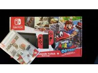 NEW Nintendo Switch with Red Joy-Con Controllers Super Mario Odyssey + NBA 18