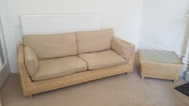 Settee 3 seater for conservatory or lounge, solidly built, Plus chair and 2 tables.