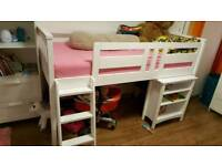 Mid sleeper bed with desk and mattress