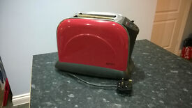 Stainless Steel/Cherry Red Enamel Toaster