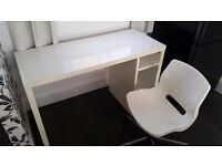 White Gloss Desk (NEXT) with White plastic swivel chair