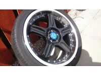 "18"" 5 stud alloy wheels with new low profile tyres"