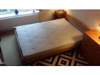 Wood Framed King Size Bed with Mattress - Barely used