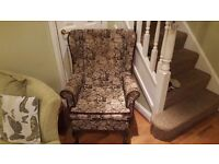 Vintage Retro Wingback High Back Tapestry Style Armchair Fireside Chair Queen Anne Legs